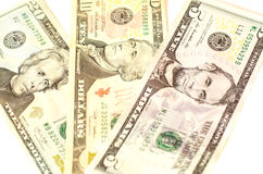 Dollarschein-Nominalwert von $ 5 fünf, von $ 10 zehn und von $ 20 zwanzig Stockfoto