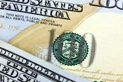 Dollarschein US-Währungs-hundert Stockfotos