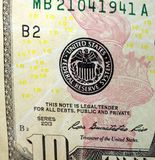 Dollarschein Vereinigter Staaten Währungs-zehn Lizenzfreies Stockfoto