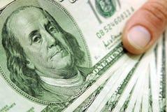 Dollarscheinabschluß oben Stockfotografie