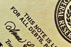 Dollarscheindetail mit einer reichen Papierbeschaffenheit stockfotos