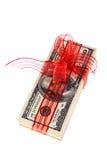 Dollarscheine als Geldgeschenk Lizenzfreie Stockbilder