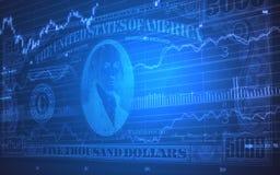 5000 Dollarscheine auf Börse-Börsentelegrafen Lizenzfreie Stockfotos