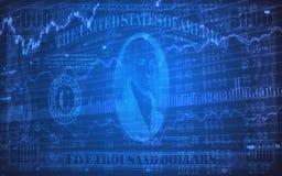 5000 Dollarscheine auf Börse-Börsentelegrafen Lizenzfreie Stockbilder