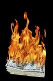 Dollarscheine auf Feuer Stockfoto