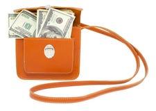 Dollarscheine in der Handtasche Lizenzfreie Stockfotos