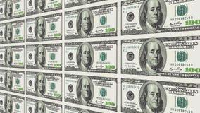 100 Dollarscheine in der Perspektive des Abstandes 3d Stockfotografie