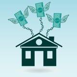 Dollarscheine mit den Flügeln angekettet an das Haus lizenzfreie abbildung