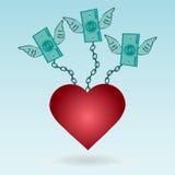 Dollarscheine mit den Flügeln angekettet an das rote Herz lizenzfreie abbildung