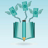 Dollarscheine mit den Flügeln angekettet an ein offenes Buch vektor abbildung