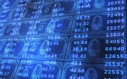 1000 Dollarscheine stapelten Börsentelegraf-Daten Stockfotos