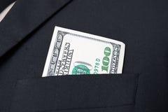 Dollarscheine Vereinigter Staaten - in der Geschäftsmannklagentasche Stockfotos