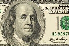 Dollarsedel, Benjamin Franklin Arkivbilder