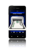 Dollarsedel med mobiltelefonen som isoleras på vit Royaltyfri Foto