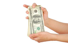 Dollarsedelpengar i handen Royaltyfria Foton