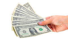 Dollarsedlar i kvinnlig hand royaltyfria bilder
