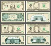 Dollarsedlar, oss uppsättning för vektor för valutapengarräkningar vektor illustrationer