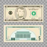 Dollarsedlar, oss valutapengarräkningar - 5 dollar som isoleras på genomskinlig bakgrund Vektorillustration i lägenhet och teckna stock illustrationer