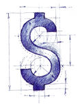 Dollarsign szkic ilustracji