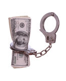100 dollarsnota's in handcuff Stock Foto's