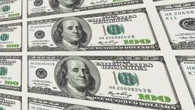 100 dollarsrekeningen in afstands 3d perspectief Royalty-vrije Stock Afbeeldingen
