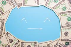 100 dollarsrekeningen op de blauwe achtergrond Royalty-vrije Stock Foto