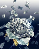 DollarsRose. 100 dollars banknote fold into rose represent financial concept Stock Images