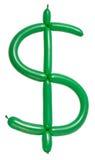 Dollarsymbol av den vridna ballongen Arkivfoto