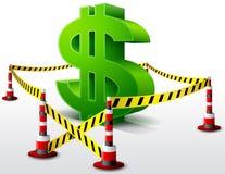 Dollarsymbol gelegen im Sperrgebiet Lizenzfreies Stockfoto
