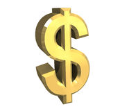 Dollarsymbol im Gold (3D) Stockbilder