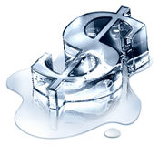 Dollarsymbol in schmelzendem Eis Lizenzfreie Stockfotos