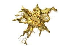 Dollarsymbol schmilzt in flüssiges Gold Pfad Stockbilder