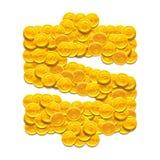 Dollarsymbol som göras med guld- mynt Vektor som isoleras på vitbakgrund Arkivfoto