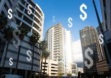 Dollarsymboler i finansiell områdesskyskrapastad Arkivfoton