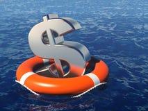 Dollarsymbool met reddingsboei in water vector illustratie