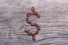 Dollarsymbool van koffiebonen Stock Fotografie