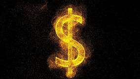 Dollartecken från guld- partiklar digital bakgrund Arkivbilder
