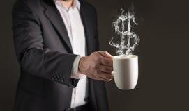 Dollartecken från kaffeånga Rök som bildar ett pengarsymbol Arkivbilder