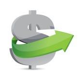Dollartecken med pilen. Symbolisera tillväxt. Arkivfoto