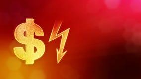 Dollartecken och emblem av belysningbulten Finansbakgrund av lysande partiklar animering för ögla 3D med djup av fältet arkivfilmer