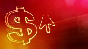 Dollartecken och emblem av pilen Finansbakgrund av lysande partiklar animering för ögla 3D med djup av fältet, bokeh lager videofilmer
