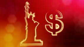 Dollartecken och emblem av statyn av frihet Finansbakgrund av lysande partiklar animering för ögla 3D med djup stock video