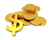Dollartecken och mynt Fotografering för Bildbyråer