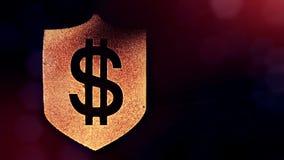 Dollartecken på skölden Finansbakgrund av lysande partiklar animering för ögla 3D med djup av fältet, bokeh och stock video