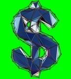 Dollartecken som göras i låg poly isolerad stilblåttfärg på grön bakgrund royaltyfri illustrationer