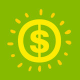 Dollartecken som shinning ljus guling Royaltyfria Bilder