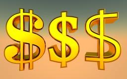 Dollarteken - 3d teruggevende illustratie Stock Afbeelding