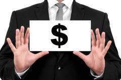 Dollarteken. De zakenman toont adreskaartje Royalty-vrije Stock Afbeeldingen