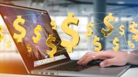 Dollarteken die rond een 3d netwerkverbinding vliegen - geef terug Stock Fotografie