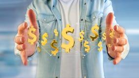 Dollarteken die rond een 3d netwerkverbinding vliegen - geef terug Stock Afbeeldingen